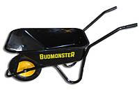 Тачка BudMonster строительная 1-колесная, куз.черный 80л, рама черн., в/п-200кг, колесо пневмо 4х8