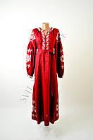 Вишите лляне довге червоне плаття з машинною вишивкою