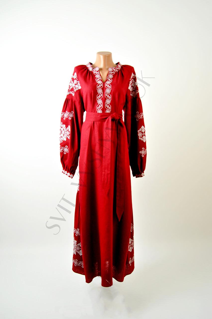 Вишите лляне довге червоне плаття з машинною вишивкою - Інтернет-магазин  вишиванок для всієї сім 7f8a6e7cae3d9