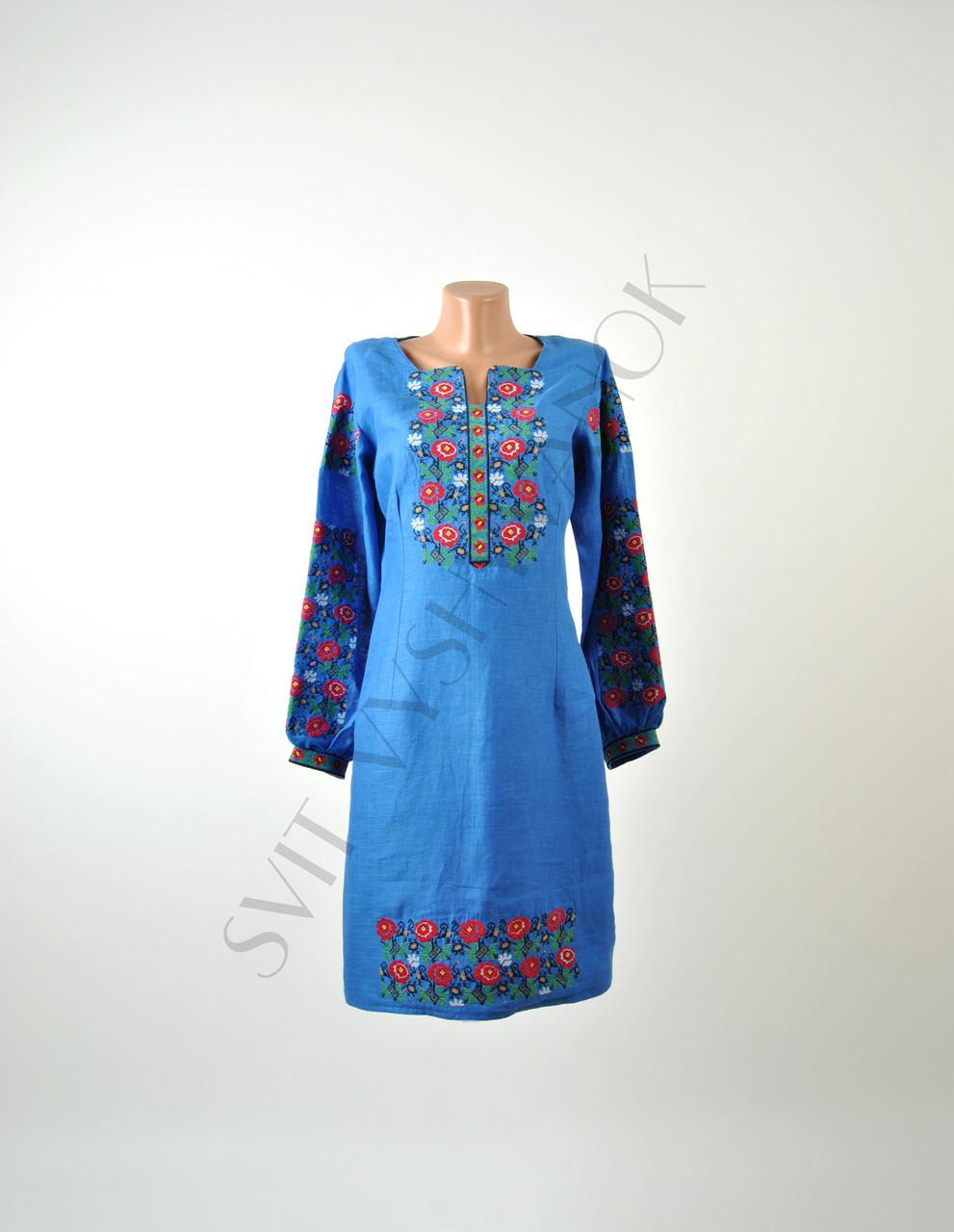 Вишите лляне голубе плаття з машинною вишивкою