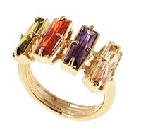 """Кольцо """"Бродвей"""" с фианитами, покрытое золотом (r185p0a7)"""