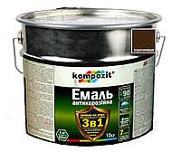 """Эмаль-грунт акриловая KOMPOZIT """"3 в 1"""" антикоррозионная коричневая, 10кг"""