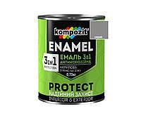 """Эмаль-грунт акриловая KOMPOZIT """"3 в 1 PROTECT"""" для металла и оцинковки серая 0,75кг"""