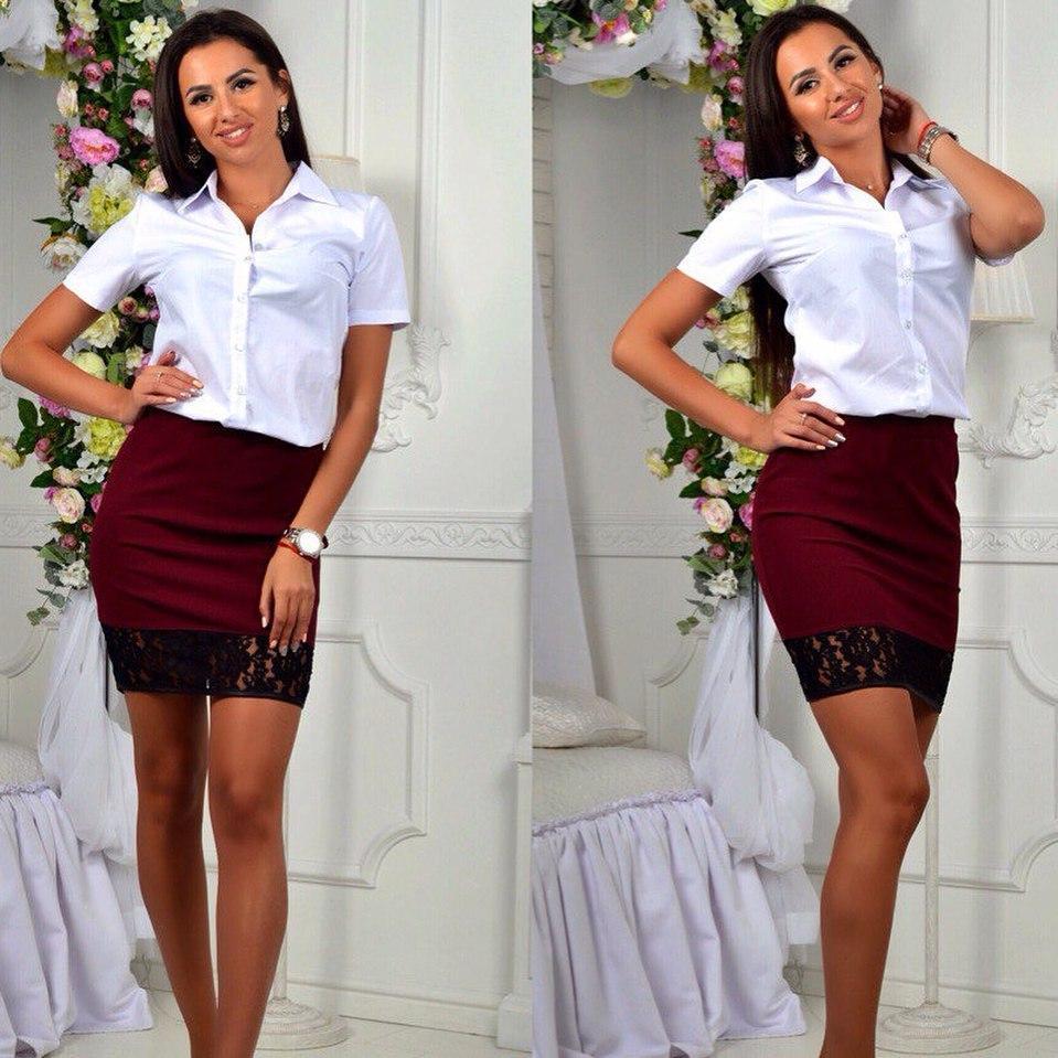 Облегающаяя молодежная юбка в школьном стиле с кружевом по подолу