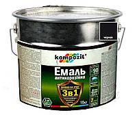 """Эмаль-грунт акриловая KOMPOZIT """"3 в 1"""" антикоррозионная черная, 10кг"""