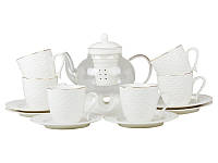 Фарфоровый чайный набор на 6 персон с чайником Lefard 359-317