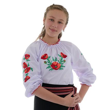 """Вышитая сорочка для девочек """"Маки"""", фото 2"""