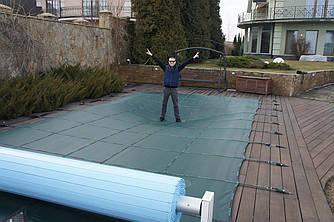 Защитный тент для композитного бассейна размером 8,0 м. на 4,0 м