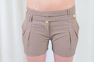 Шорты легкие летние с карманами на девочек подростков цвет кампучино