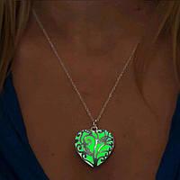 Кулон и цепочка  Светящиеся Сердце Салатовый