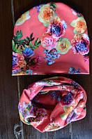 Шапочка и хомут для девочек Корраловые цветы