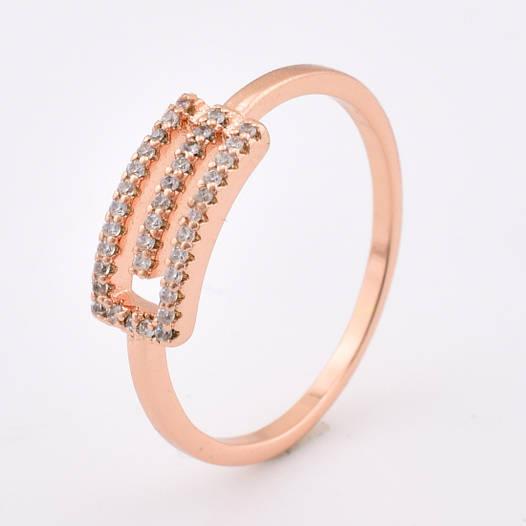 Кольцо 12856 размер 18, белые камни, позолота РО