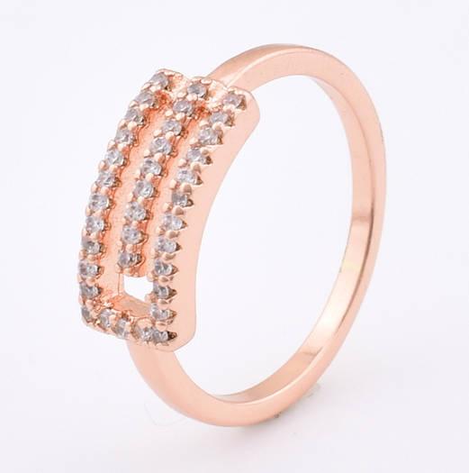 Кольцо 12856 размер 22, белые камни, позолота РО