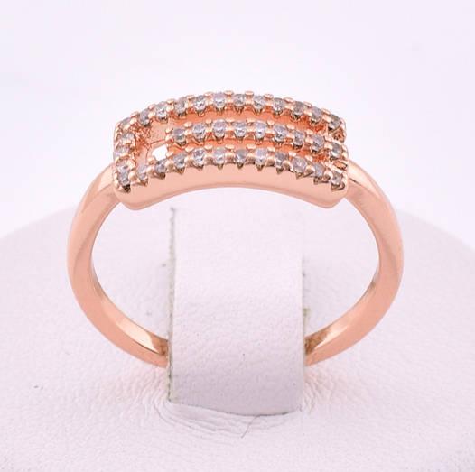 Кольцо 12856 размер 20, белые камни, позолота РО