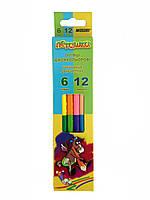 """Цветные двухсторонние карандаши """"Marco"""" 6+6 цветов"""