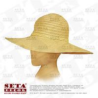 Шляпа бежевая с широкими полями пляжная d-45 см