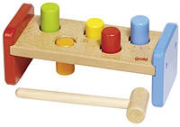 Детская игрушка для маленьких детей goki Сортер Молоток и скамейка 58581