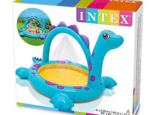 Детский надувной бассейн с фонтаном Динозавр INTEX