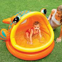 Детский надувной бассейн рыбка с навесом INTEX 57109