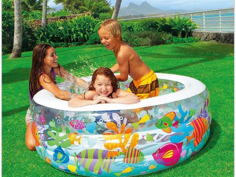 Детский надувной бассейн, манеж и батут аквариум 152 х 56 х 39 см INTEX Басейн круглый