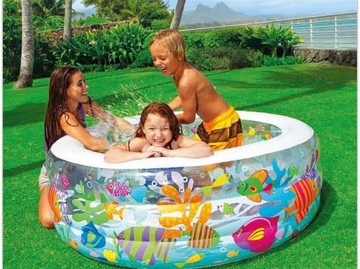 Детский надувной бассейн, манеж и батут аквариум INTEX Басейн
