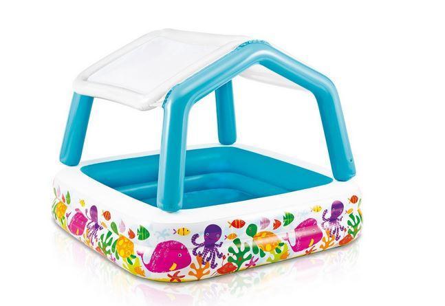 Детский надувной бассейн со сьемным навесом аквариум 157х157х122 см INTEX Басейн квадратный