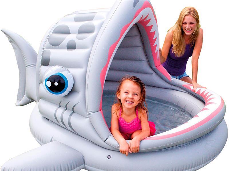 Детский надувной бассейн 201 х 198 х 109 смINTEX 57120 Акула Басейн круглый