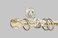 Карниз для штор однорядный металлический 19 мм, Белое-Золото (комплект)