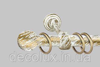 Карниз для штор однорядний металевий 19 мм, Біле Золото (комплект)