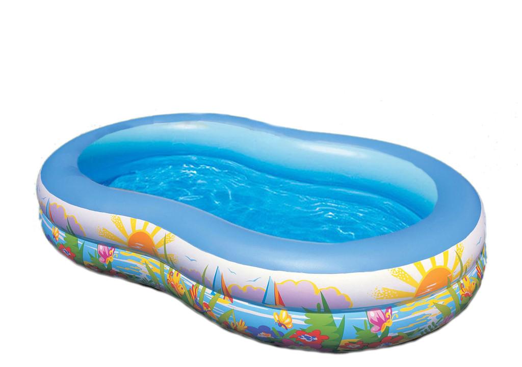 Детский надувной бассейн овальный райская лагуна 262х160х46 см INTEX 56490 Басейн овальный