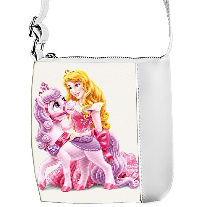 Белая сумка для девочки с принтом Принцесса Аврора