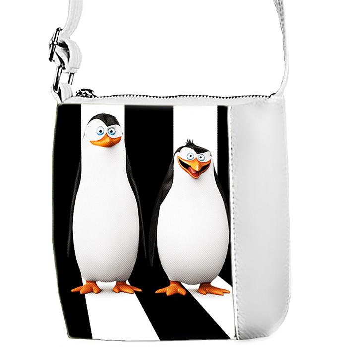 Белая сумка для девочки с принтом Пингвины Мадагаскара 1