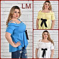 Летняя женская блузка 770331 большого размера голубая жёлтая белая батал р 42,44,46,48,50, 52, 54, 56, 58, 60.