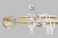 Карниз для штор двухрядный металлический 19 мм, Белое-Золото (комплект)