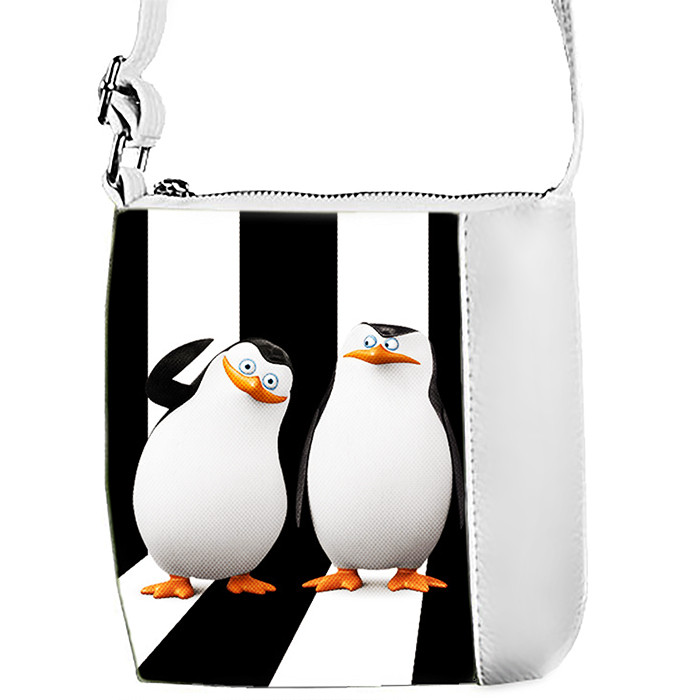 Белая сумка для девочки с принтом Пингвины Мадагаскара 2