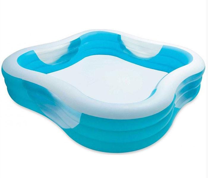 Семейный квадратный надувной бассейн INTEX 229х229х56 см Басейн фигурный