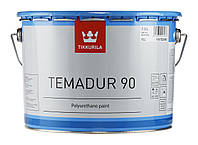 Эмаль полиуретановая с серебристым блеском TIKKURILA TEMADUR 50 TML износостойкая+отвердитель(комплект) 9 л.