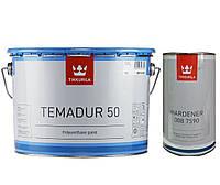 Эмаль полиуретановая TIKKURILA TEMADUR 50 TCL износостойкая+отвердитель(комплект) , 9 л.