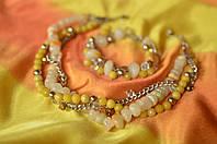 Комплект ожерелье и браслет из оникса и кварца «Дежавю»