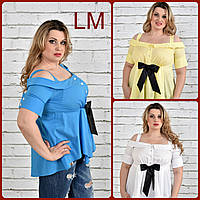 Р 68, 70, 72, 74, Нежная летняя женская блуза 770331 супер батал белая голубая желтая больших размеров бантом