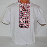 """Мужская вышитая футболка """"Волна"""" красная"""