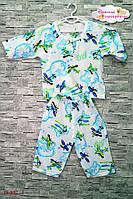 """Летний костюм для самых маленьких """"Самолётики в облачках""""."""