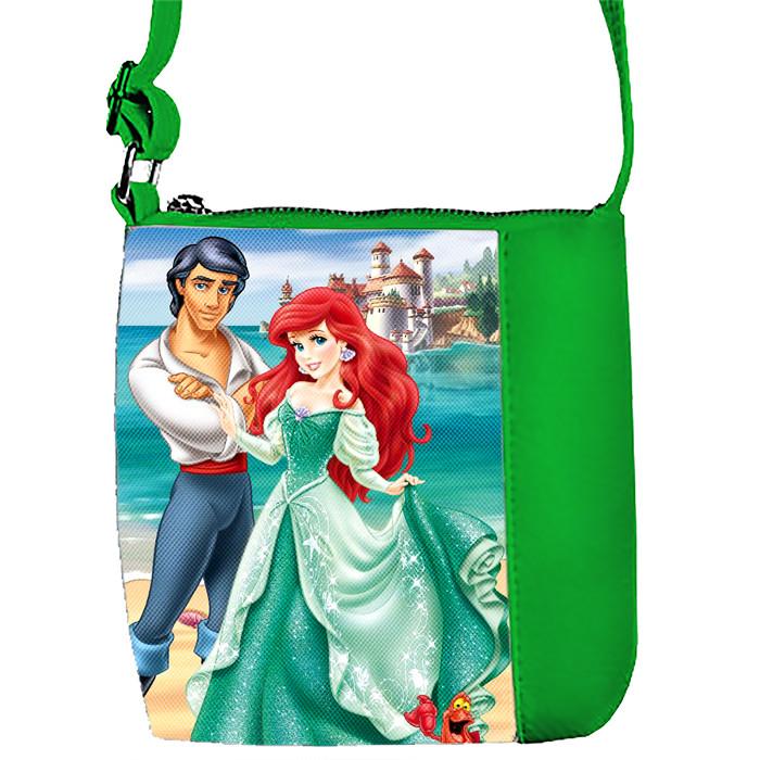 Зеленая сумка для девочки с принтом Русалка и Принц