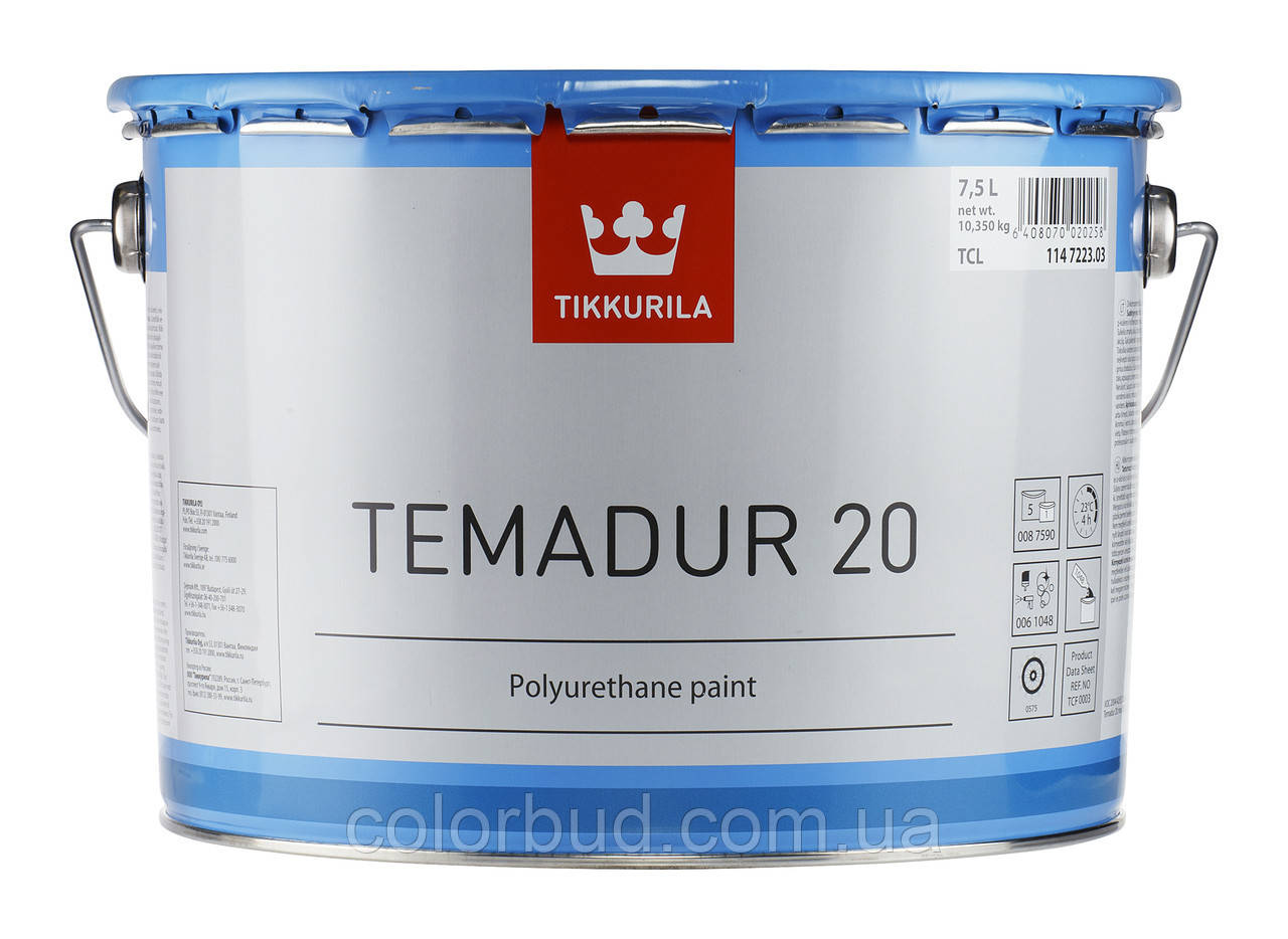 Эмаль полиуретановая Temadur 20 TVL износостойкая  Tikkurila Coatings+отвердитель(комплект)  9 л - КолорБуд в Харькове