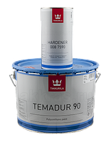 Эмаль полиуретановая высокоглянцевая TIKKURILA TEMADUR 90 TCL износостойкая+отвердитель(комплект)  9 л.
