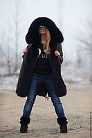 Модная парка с мехом финского песца черного цвета с подкладом из натурального меха