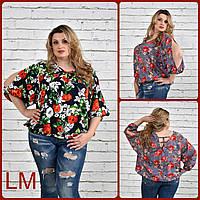 Р 68, 70, 72, 74, Красивая летняя женская блузка 770333 супер батал с цветами розовая синяя больших размеров