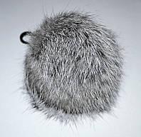 Меховой помпон Кролик светло-серый 9 см.