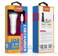 Зарядное устройство LDNio Car charger 2USB (3.1A) + Lightning USB Cable White