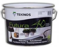 Эмаль уретан-алкидная TEKNOS FUTURA 40 универсальная, белый (база 1), 0,9л